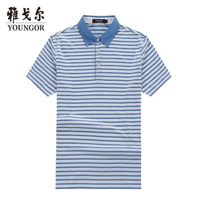 Youngor Youngor Mùa Hè T-Shirt Nam Ngắn Tay Áo Cổ Áo Sọc Joker Ve Áo Ngắn Tay Áo Polo Áo 4906 Áo phông ngắn