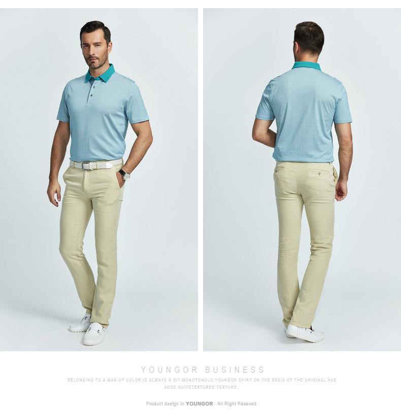 Youngor Youngor mùa hè người đàn ông mới của T-Shirt kinh doanh bình thường polo cotton lụa ngắn tay T-Shirt nam 5876