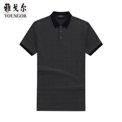 Youngor Youngor mùa hè nam áo sơ mi kinh doanh bình thường polo sọc nam ngắn tay T-Shirt nam 4896 áo thun nam tay ngắn có cổ Áo phông ngắn