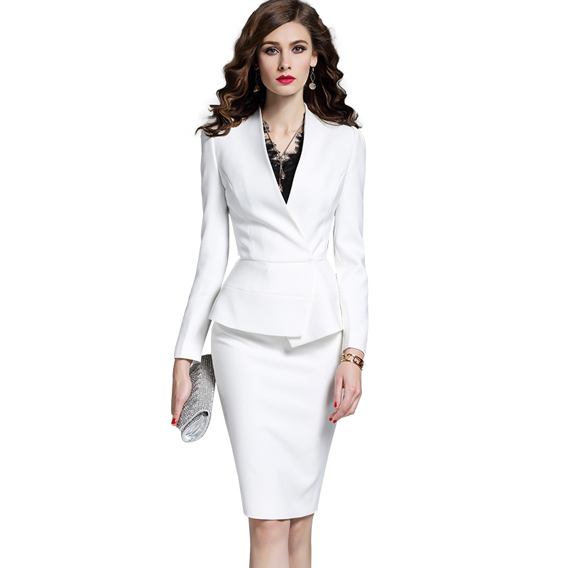 0002d82fd23 Neck sleeves add fragrant female professional wear suit 2019 spring and autumn  new fashion dress white overalls small suit skirt