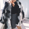 2018 winter new woven imitation fox fur grass coat female loose color matching long paragraph warm fur coat