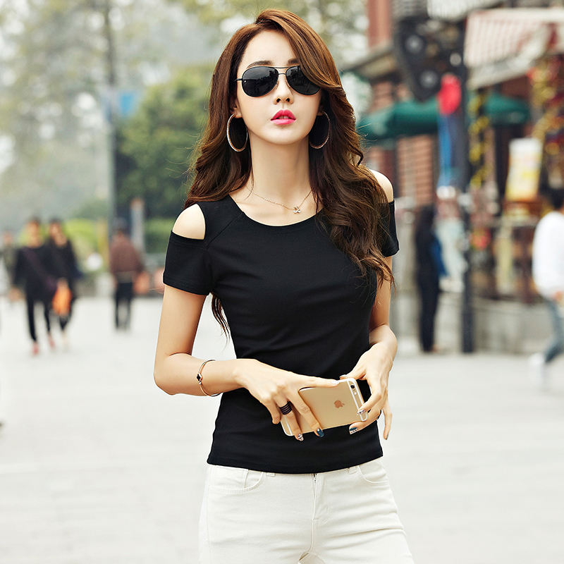 19a970a1c7ff 2019 Summer Dress New Korean women s clothing slimming skinny sexy open  shoulder short sleeve T shirt top tight cotton t shirt