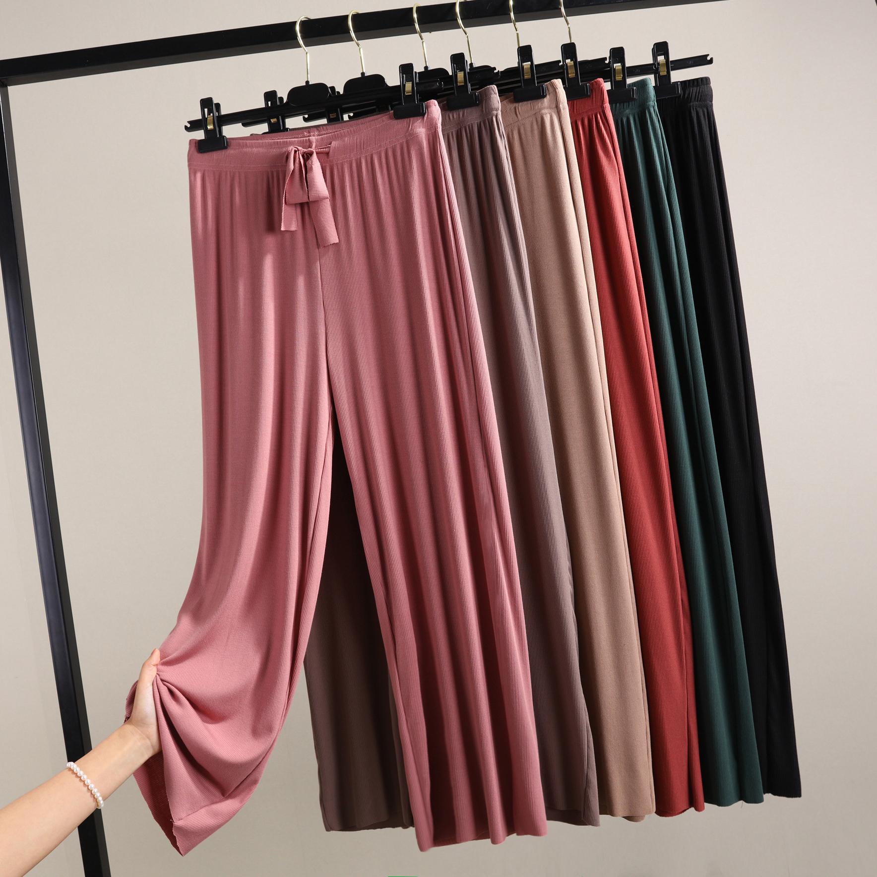 Mùa hè 2020 phong cách mới kiểu quần ống rộng chân nữ phiên bản Hàn Quốc rộng kích thước lớn eo cao phần mỏng quần chín điểm quần âu - Cộng với kích thước quần áo