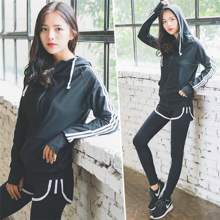 春夏季瑜伽服套装女长袖显瘦跑步上衣服韩国运动裤女健身房速干衣