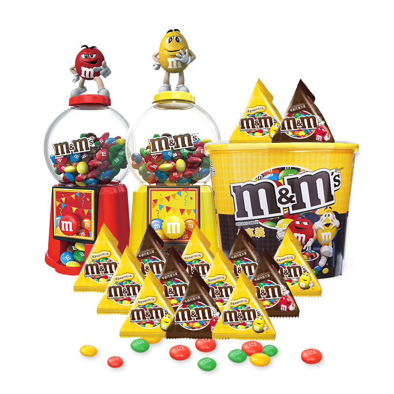 【双11薇娅专享】mm豆红黄糖果豆人机牛奶巧克力豆756g儿童玩具