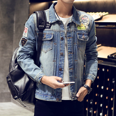 Spring large size denim jacket male Korean version of the hole Slim denim jacket student shirt retro trend jacket men