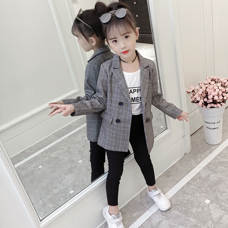 2c66e677b0 Girls spring coat 2019 New Style Small suit in the Big Boy fashion Korean  version of the plaid suit shirt tide clothing
