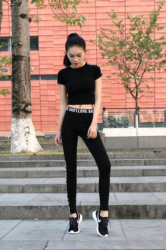 New hip hop tập thể dục jazz múa xà cạp phụ nữ chặt chẽ đàn hồi yoga quần áo hoang dã mặc mỏng quần áo giảm béo