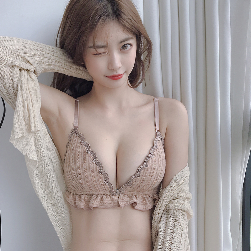 (Original) thin front button triangle cup underwear women's small chest gathered adjustment-type steel-free ring bra reception side milk