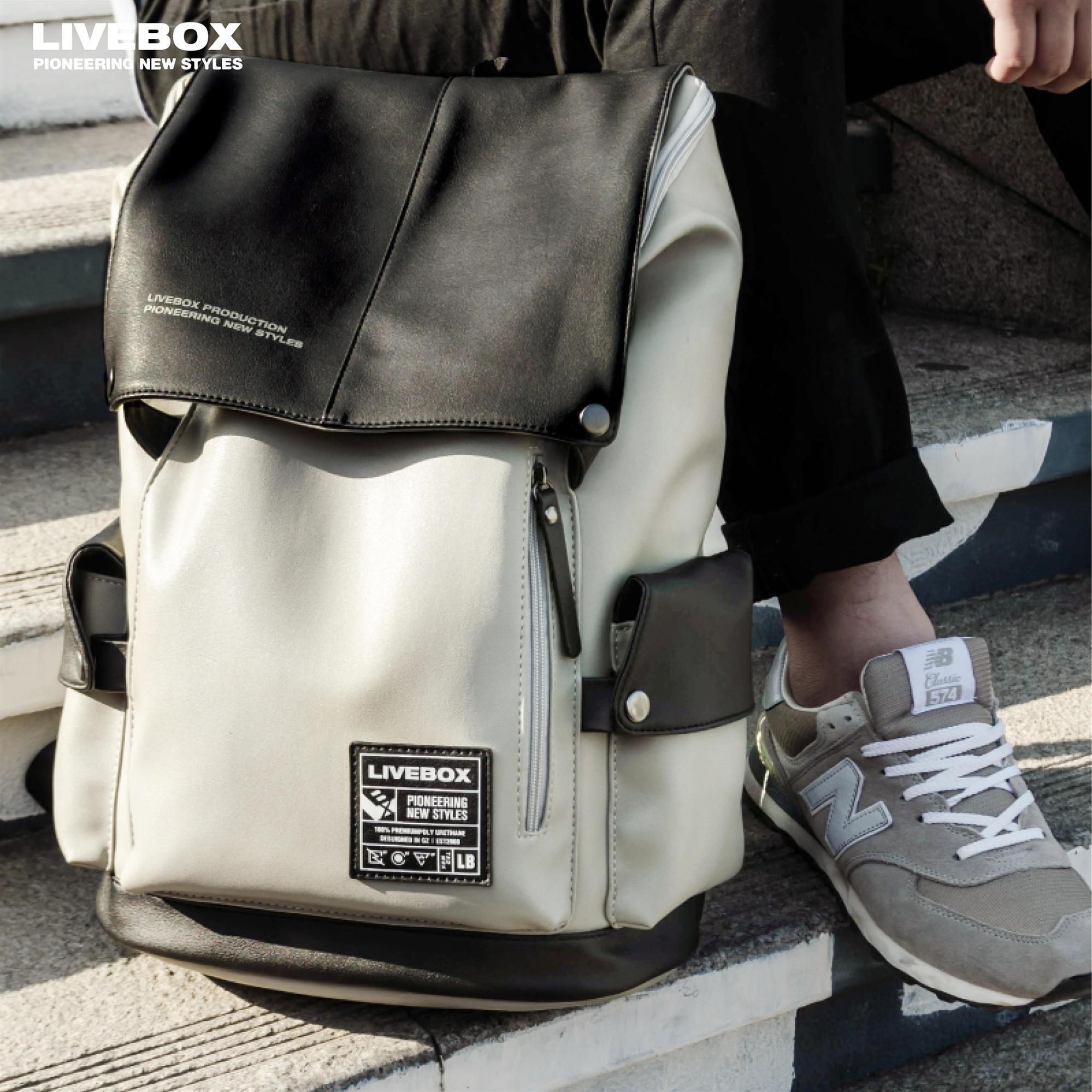 LIVEBOX 简约青年背包男士双肩包时尚潮流书包休闲大学生旅行韩版