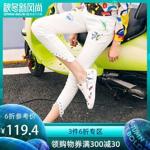 玛玛绨2019夏装新款时尚修身白色牛仔裤个性韩版刺绣小脚九分裤女