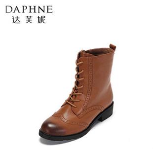 【达芙妮】短筒牛皮系带中方跟马丁靴
