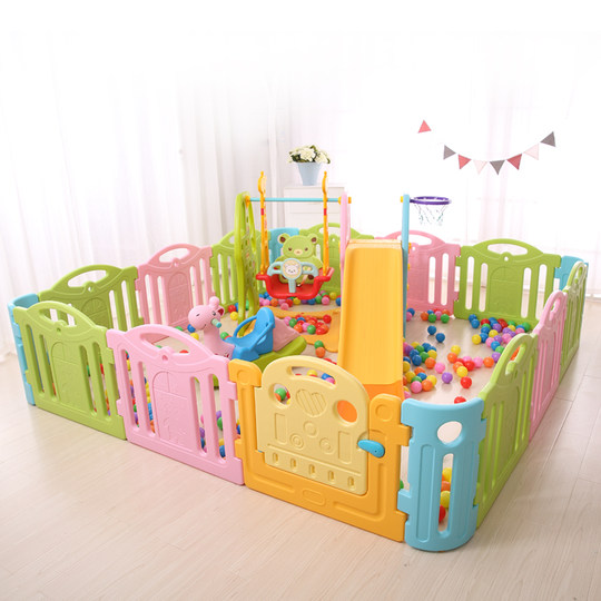 Children's indoor playpen slide combination playground baby safety fence home baby crawling mat guardrail