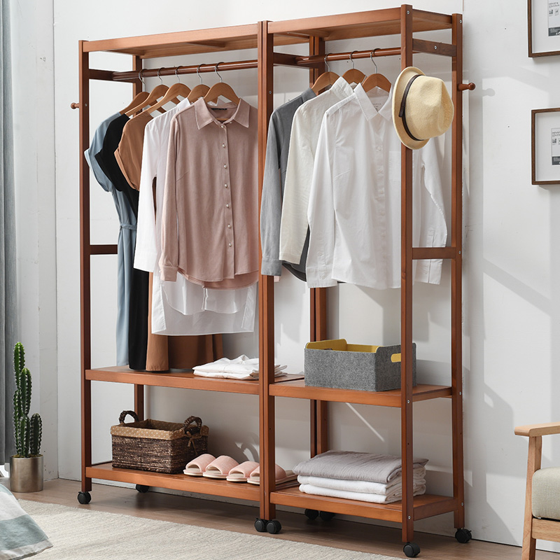 Bon Hanging Hanger Home Floor Clothes Rack Solid Wood Double Hanger Bedroom  Hanging Hanger Open Wardrobe Racks