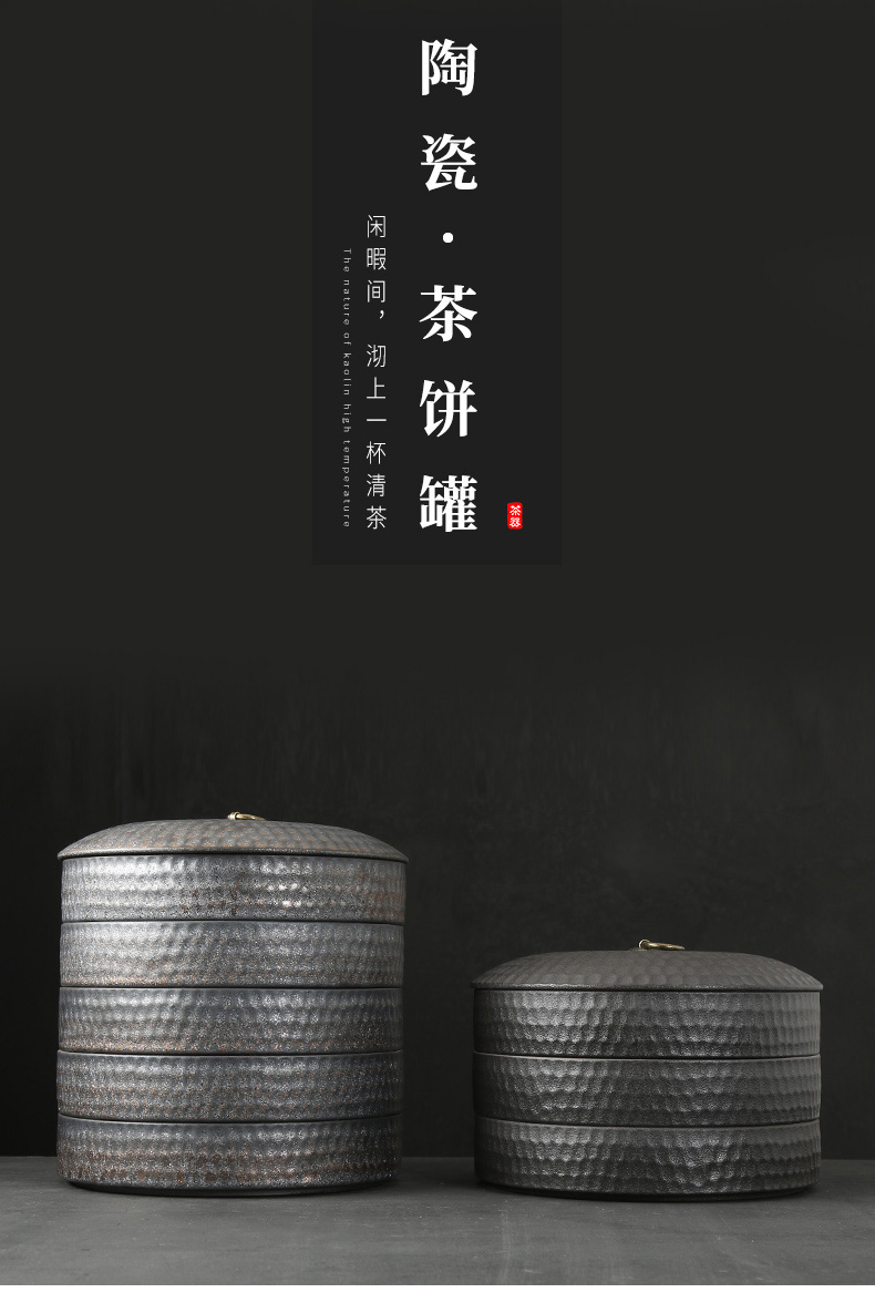Japanese coarse pottery tea cake tea pot ceramic white tea boxes large household wake receives monolayer tea boxes