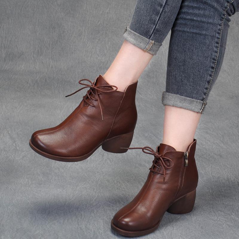 2019秋冬民族风真皮手工女靴粗跟马丁靴舒适短靴百搭中跟牛皮靴子