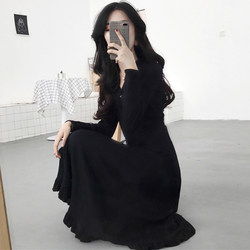 Spring and Autumn New Women's V-neck Dress Women's Slim Waist Waist A-shaped Temperament Was Thinning Base Mid-length Skirt
