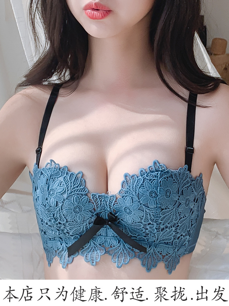 Underwear women without steel ring small chest gathered adjusted thin beauty back bra set sexy student high school girl