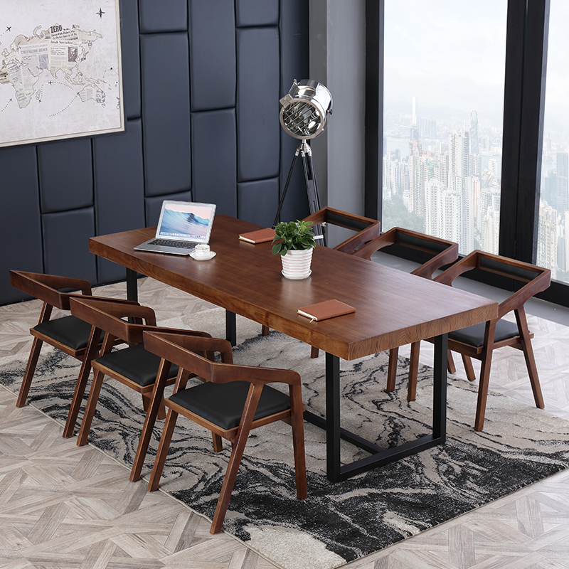 Modern Minimalist Desk Solid Wood Large Conference Table Simple Single Iron Strip Negotiate And