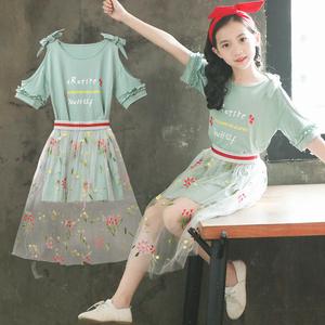 女童连衣裙夏装2020新款儿童装洋气套装裙夏季韩版裙子大童公主裙