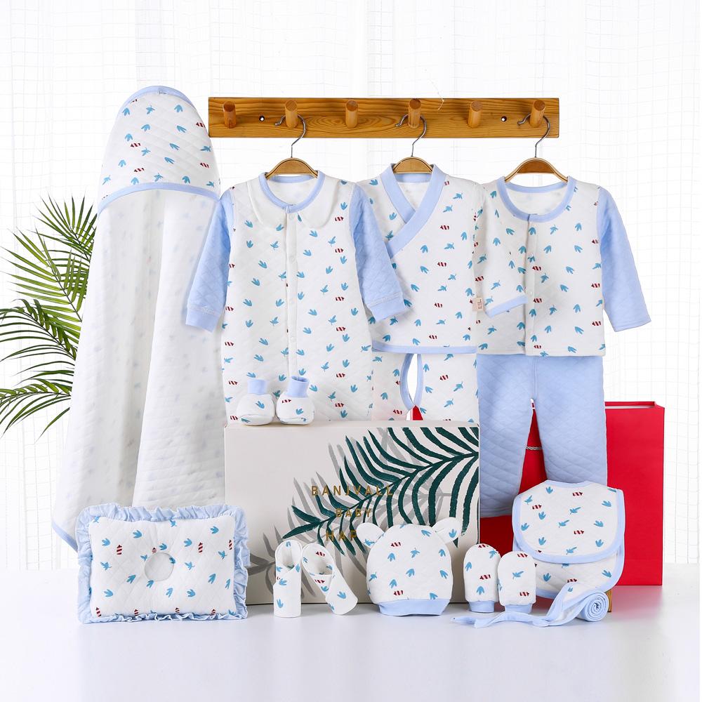 Hộp quà tặng cho trẻ sơ sinh Bộ quần áo cotton Mùa thu mùa đông Trẻ sơ sinh Trăng tròn bé trai Cửa hàng mẫu giáo cho bé - Bộ quà tặng em bé