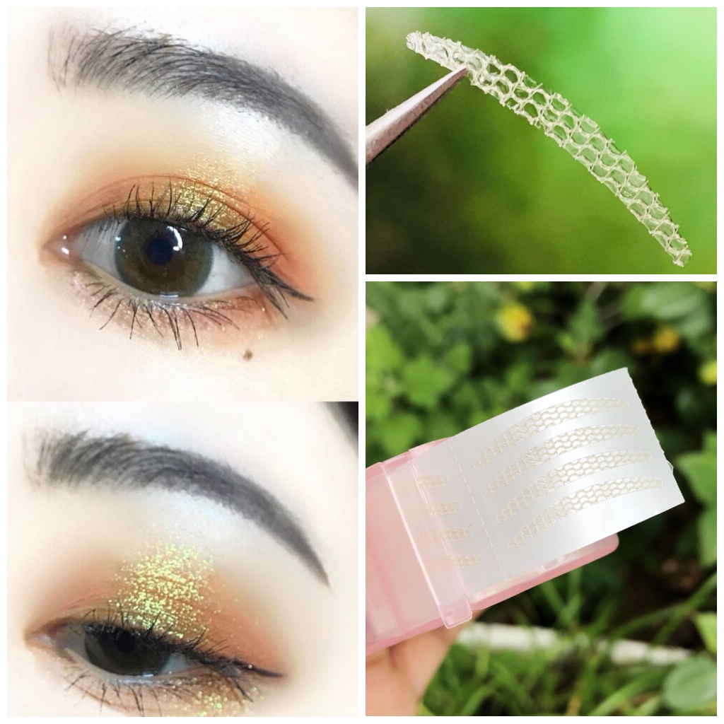 Free glue lace double eyelid stickers invisible natural meat color gauze  fairy paste Beauty Eye paste fine crescent models free cut
