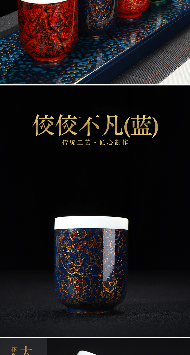 Recreational product lacquer dehua suet jade white porcelain Chinese lacquer tea service manual ceramic cups master cup single CPU