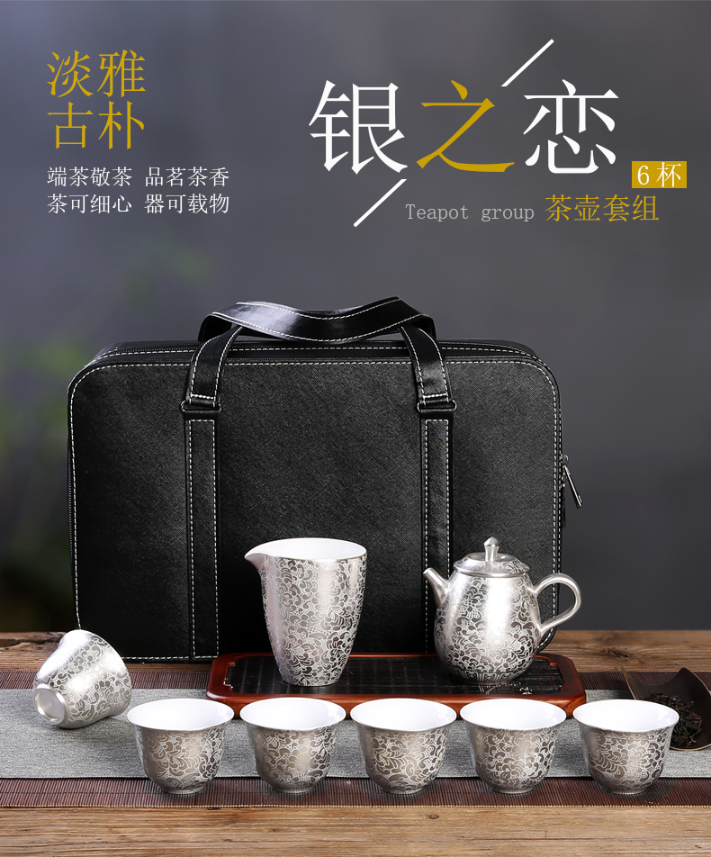Recreational product silver of ceramic coppering. As silver tureen kung fu tea cups set five blessings tea the whole trip
