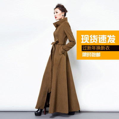 New 2021 long windbreaker coat women's princes super long slim double cashmere woolen woolen