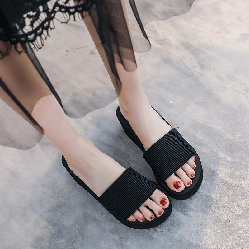 厚底拖鞋女夏拖鞋外穿高跟海边坡跟时尚增松糕韩版百搭一字凉沙滩