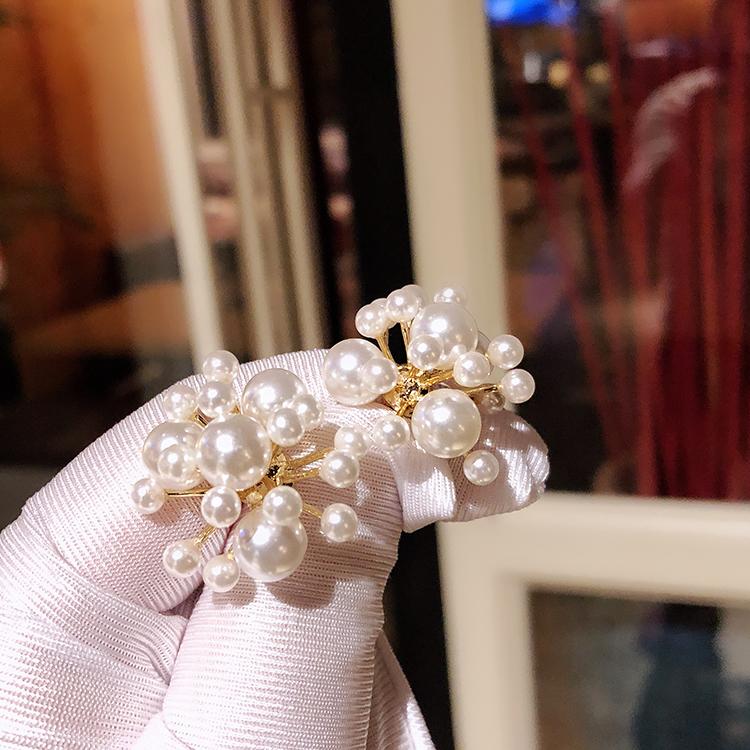 法式耳环珍珠小众复古花朵绽放气质耳扣女v耳环感耳饰重工女