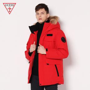 GUESS2018 новый зима любители съемный меховым воротником закрытый сращивание молния куртка мужчина -MG0W9895CR, цена 17254 руб