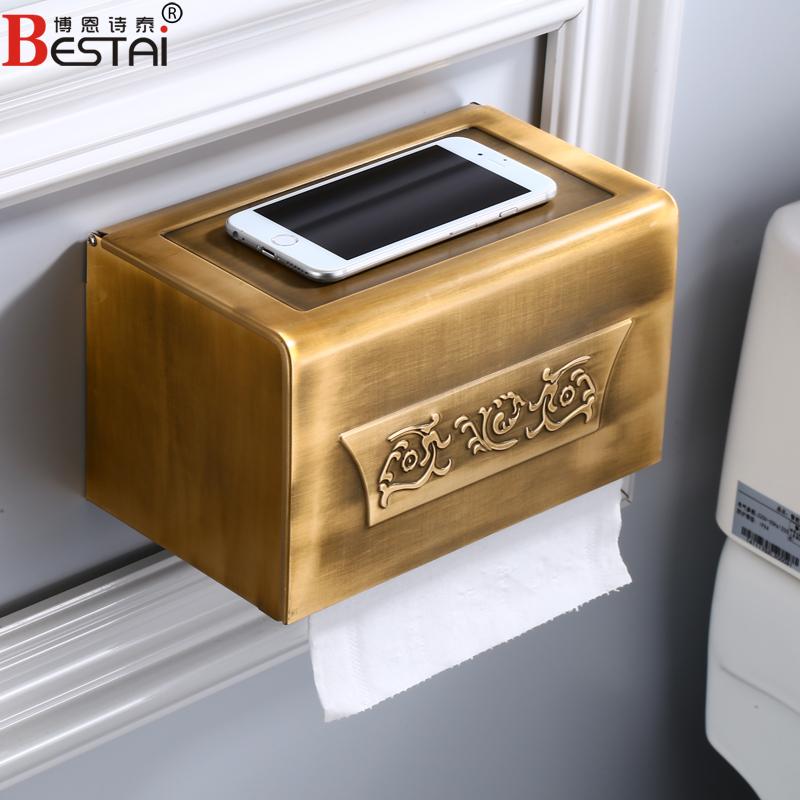 北欧免仿古防水打孔厕纸盒卷纸架厕纸盒纸巾架浴室盒纸巾置物架