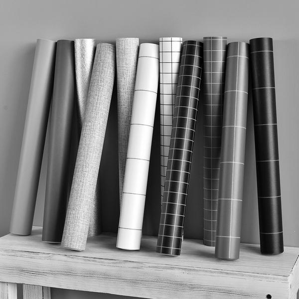 墙纸5米*0.6米纯色素色灰色格子pvc大学生宿舍寝室卫生间...