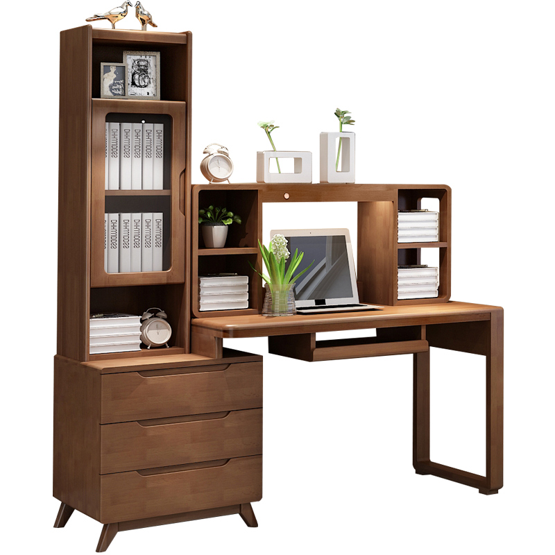 Solid Wood Desk Bookshelf Combination