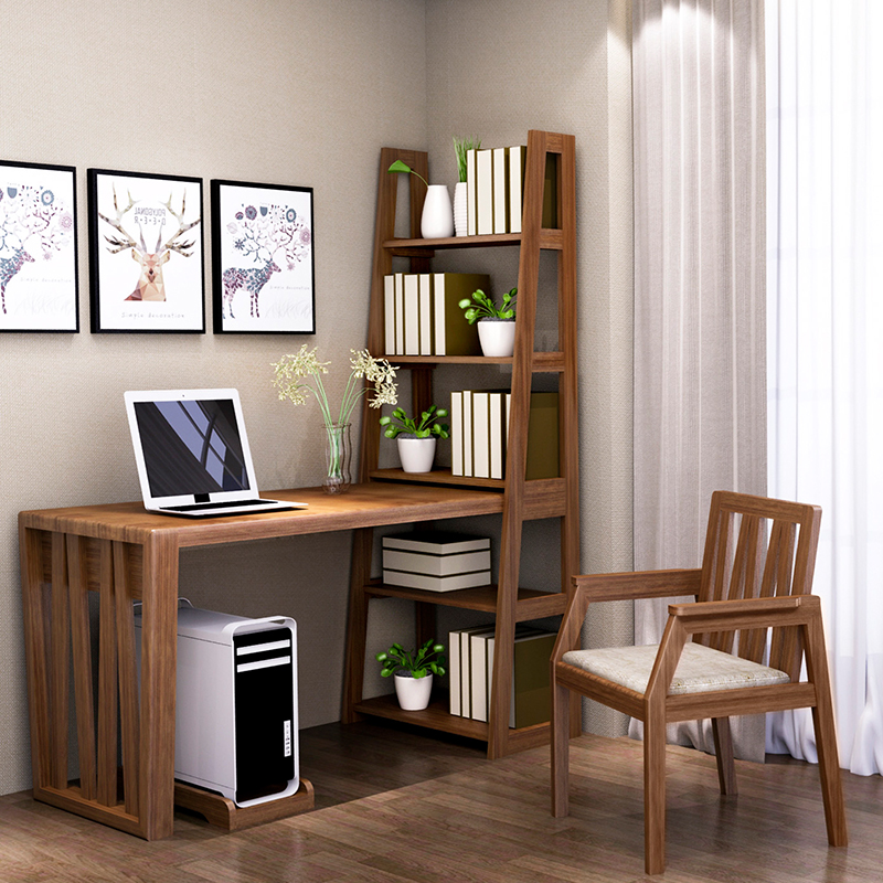 Yige Sen Live All Solid Wood Desk Bookcase Combination With Book Chair Computer Study Writing