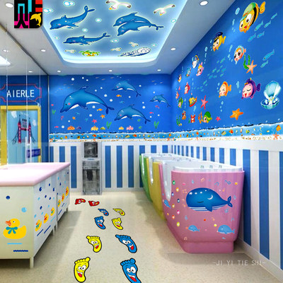 Mother and baby swimming pool wall stickers wall background decoration ocean park theme dolphins Whale waterproof self-paste