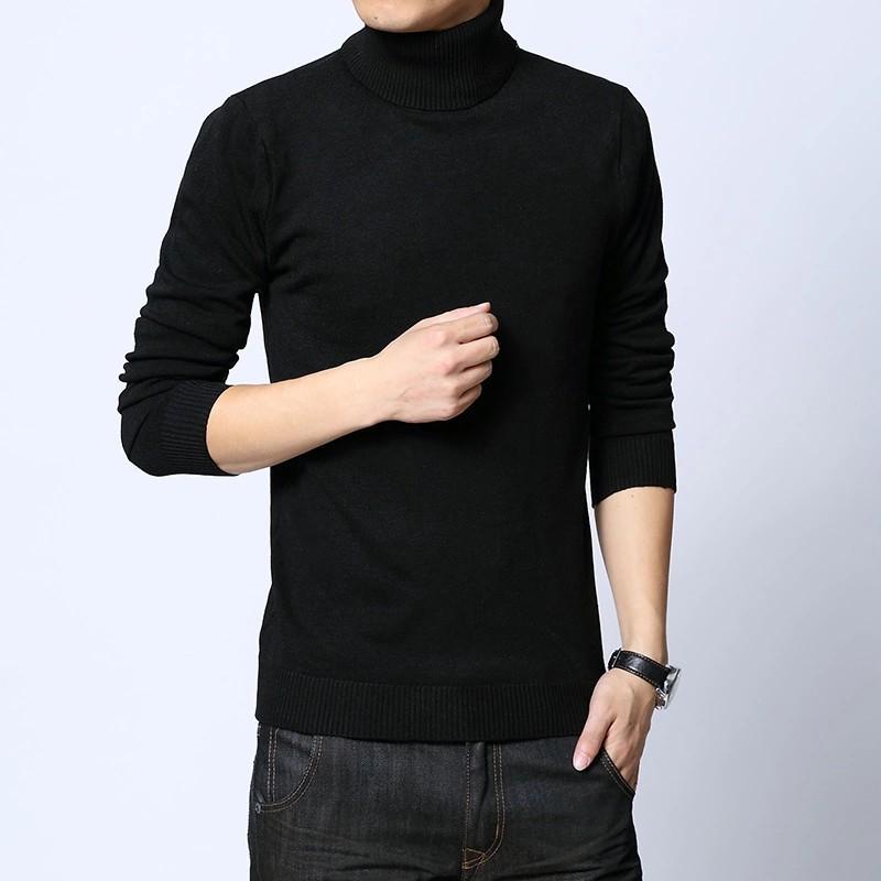 Hàn Quốc phiên bản của mùa đông dày của nam giới áo len cao cổ áo đáy áo thun áo len áo len màu tinh khiết áo len trắng