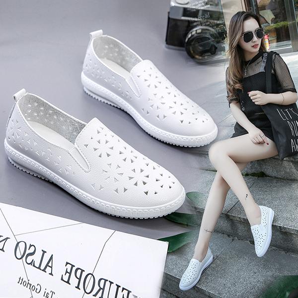 艾迪妮2018夏季新款女鞋镂空乐福鞋女透气厚底小白鞋韩版百搭单鞋