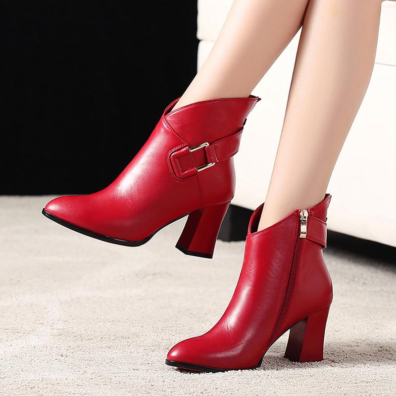 真皮鞋2018冬季新款女鞋冬天粗跟尖头高跟红色短靴中跟冬鞋棉鞋潮