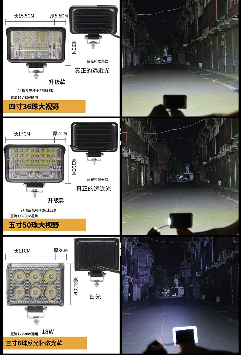 汽车货车寸怪手客厅灯强光改装射灯超亮前照倒车雾灯详细照片