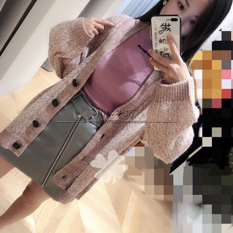 3G1E520幸福地素雅致2019春新款宽松小休闲V领针织衫开衫毛衣女