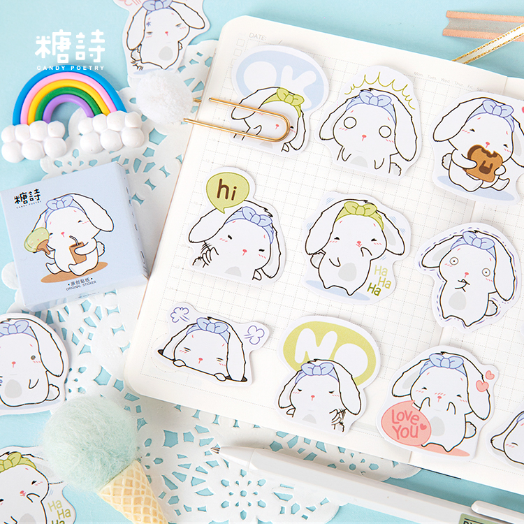 45 pieces into miss rabbit donot dry glue box stickers sprouting animal rabbit cute cartoon diary decoration stickers