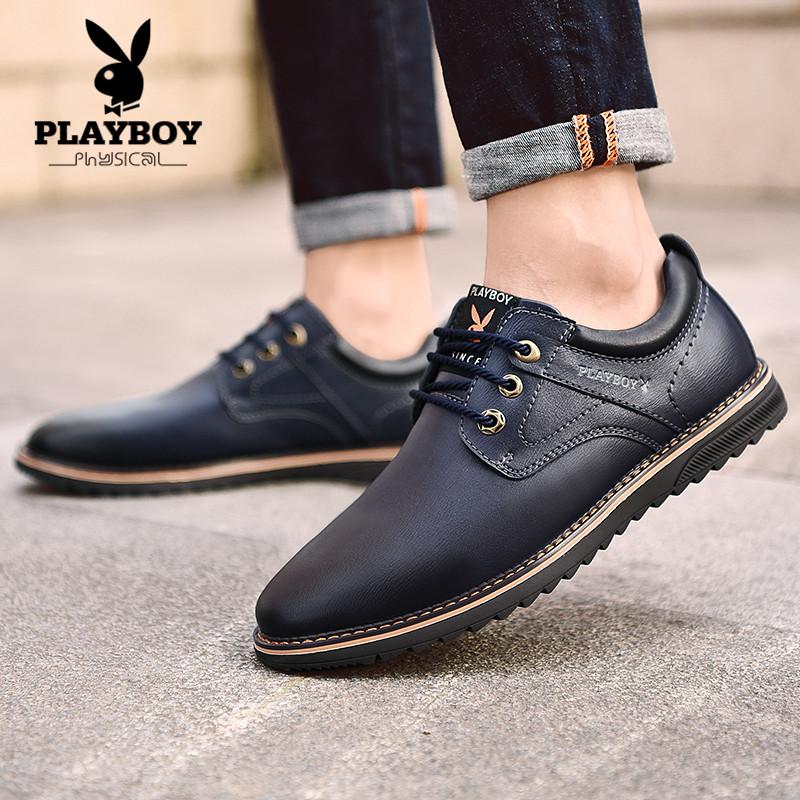 0f2dea574 Плейбой демисезонный кожаная обувь мужской корейская версия модные для  отдыха башмак молодежный бизнес английский стиль черный