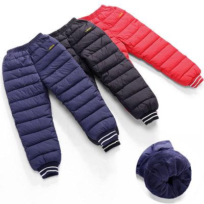 2019冬季童装儿童羽绒棉裤男童女童宝宝长裤加厚加绒保暖外穿棉裤