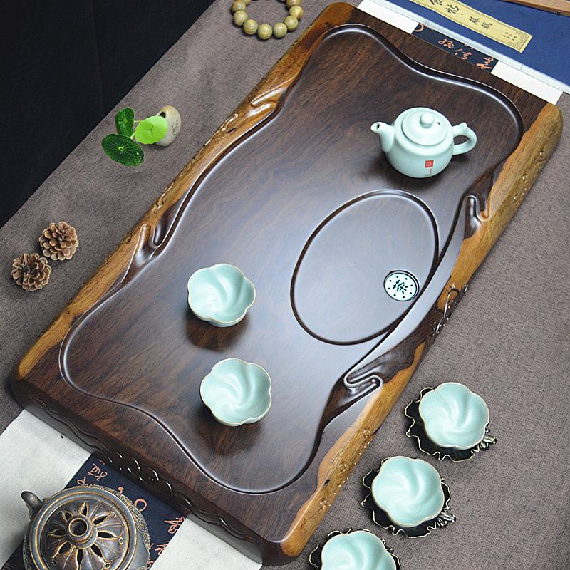 Black sandalwood tea tray Kung Fu tea household tea tray Rectangular tea sea Whole solid wood size number Simple drainage