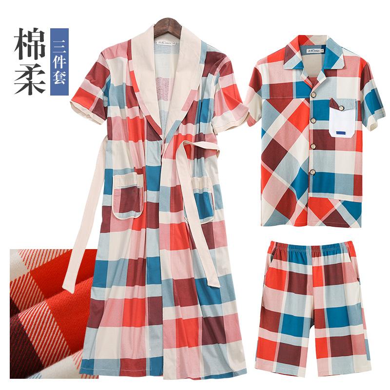Shang Zhi nam áo ngủ mùa xuân và mùa hè cotton ngắn tay áo choàng tắm nam đồ ngủ ngắn tay quần short sọc cotton dịch vụ nhà phù hợp với