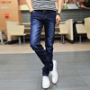 Autumn and winter models stretch and velvet jeans men's casual slim feet pants Korean version of the trend of autumn black long pants male