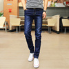 Summer thin stretch men's jeans men's casual slim feet pants Korean version of the trend of black straight long pants