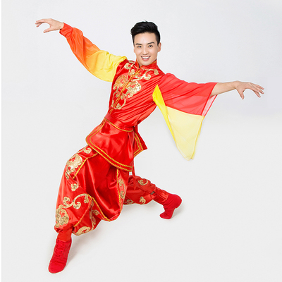 chinese dragon lion folk dance costumes for men stage costume dance Yangko drum costume lion dance acrobatic group dance clothes for men